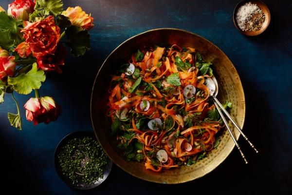 Shaved Carrot and Radish Salad with Herbs and Pumpkin Seeds