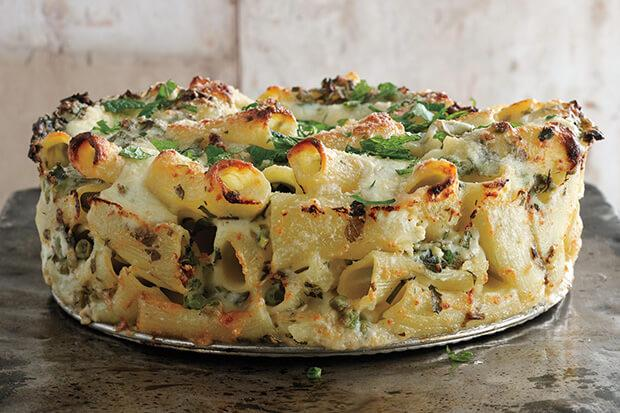Paccheri & Cheese with Peas and Herbs