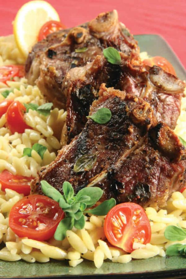 Easter Dinner Lemon-Herb Grilled Lamb Chops with Orzo