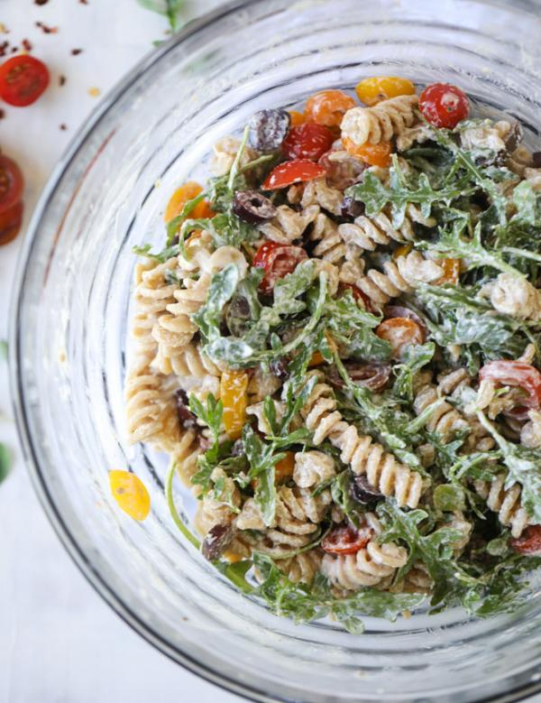 Creamy Goat Cheese and Arugula Pasta Salad