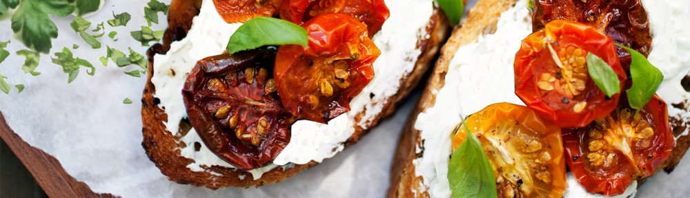 GRILLED BREAD WITH RICOTTA & TOMATOES