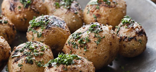 Mustard Aioli-Grilled Potatoes with Fine Herbs