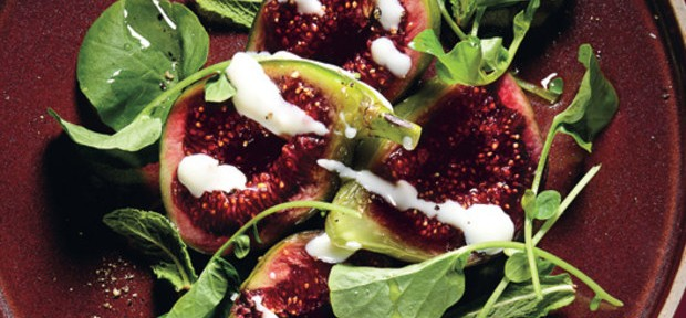 FIG SALAD WITH GOAT'S MILK YOGURT AND CRESS