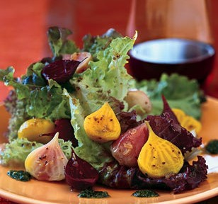 Roasted Beets and Baby Greens with Coriander Vinaigrette and Cilantro Pesto