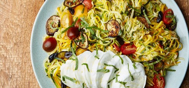 """ZUCCHINI """"NOODLES"""" WITH EGGPLANT AND TOMATOES"""