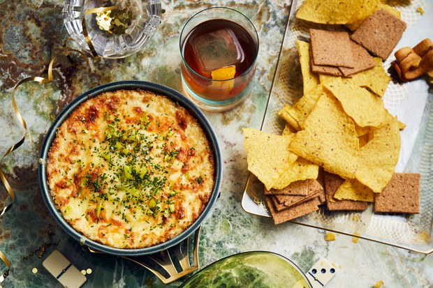 Baked Three-Cheese Onion Dip with Chive and Pepperoncini