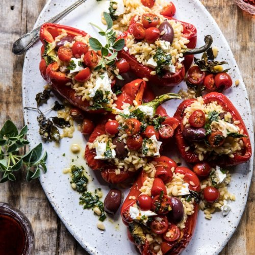 Greek Orzo-Stuffed Red Peppers with Lemony Basil Tomatoes
