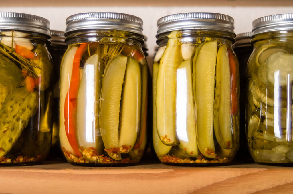 Canned pickle spears.